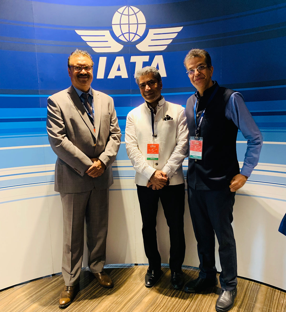 Our Directors Vipan Sharma & Sudhir Kochhar with Gurjit Gill, Manager, Training Partner & Business Development at IATA Training at IATA Global Training Partner Conference held in New Delhi